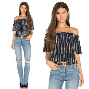 Eight Sixty Navy Striped Off Shoulder Blouse   M
